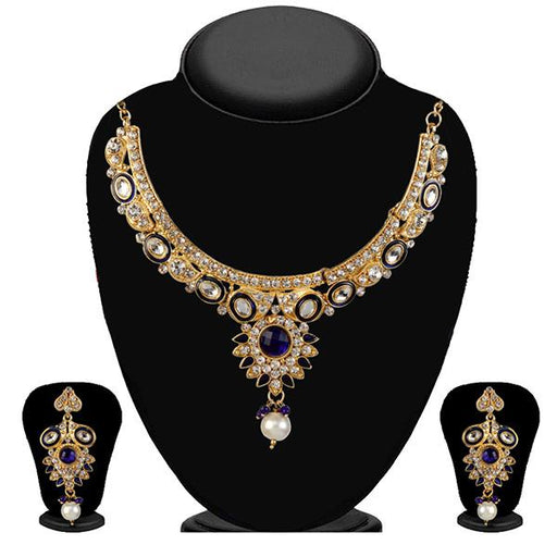 Kriaa Gold Plated White Austrian Stone Necklace Set - 2103603-CL