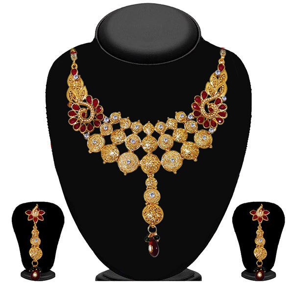 Kriaa Red Kundan Stone Necklace Set