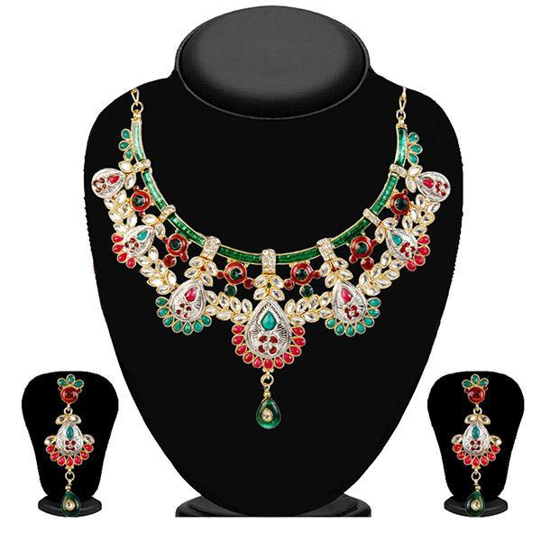 Kriaa Maroon Kundan Stone Gold Plated Necklace Set -WN