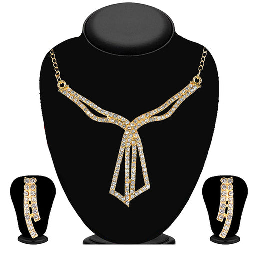 Kriaa Gold Plated White Austrian Stone Necklace Set