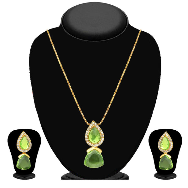 Kriaa Gold Plated Green  Stone Chain Pendant Set