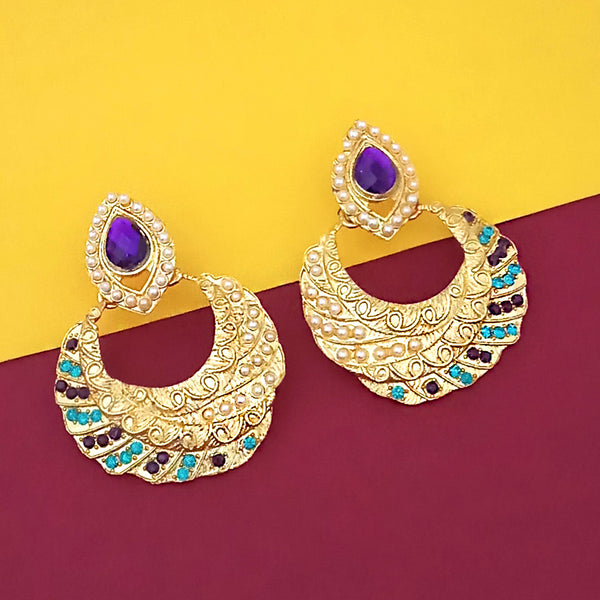 Kriaa Gold Plated Blue And Purple Austrian Stone Dangler Earrings