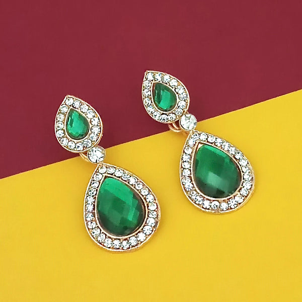 Kriaa Gold Plated White And Green Austrian Stone Dangler Earrings