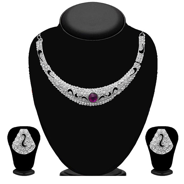 Kriaa Purple Stone Silver Plated Necklace Set