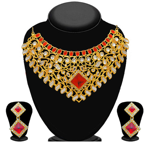 Kriaa Red Stone Gold Plated Designer Necklace Set