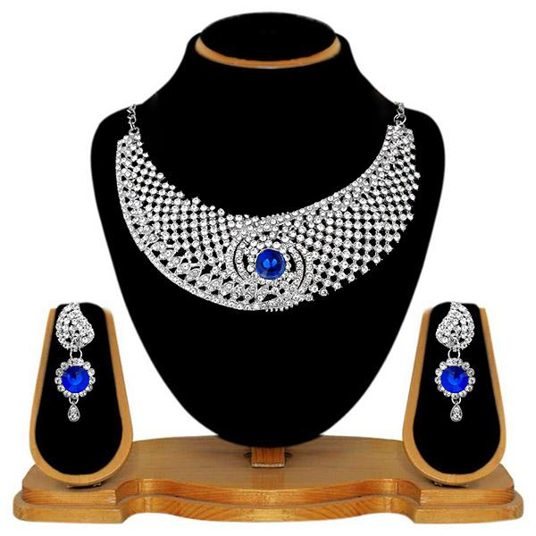 Kriaa Silver Plated Blue Stone Alloy Necklace Set - 2105404 - ES