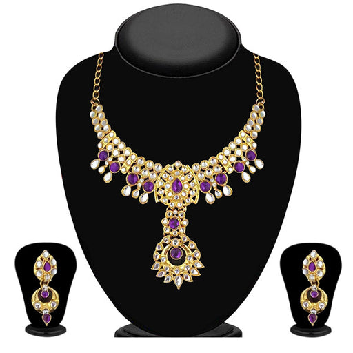 Kriaa Gold Plated Purple Kundan Necklace Set - 2105405 - ES