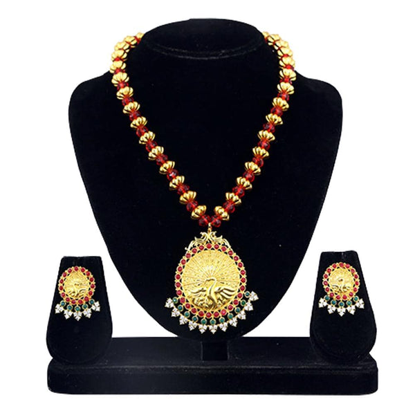 Kriaa Maroon And Green Pota Stone Necklace Set - 2105409 - ES