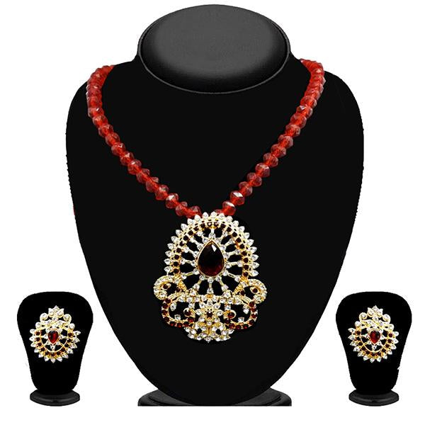 Kriaa Maroon Austrian Stone Necklace Set