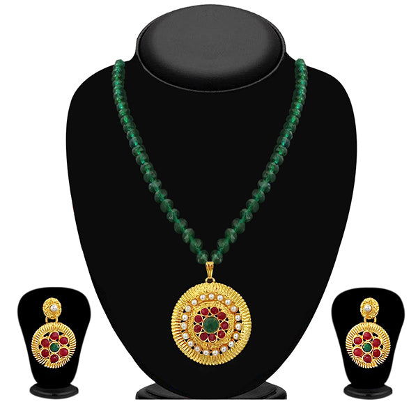 Kriaa Maroon Stone Necklace Set - 2105411 - ES