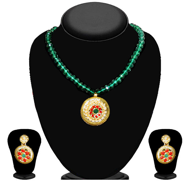 Kriaa Maroon Stone Necklace Set  - 2105411