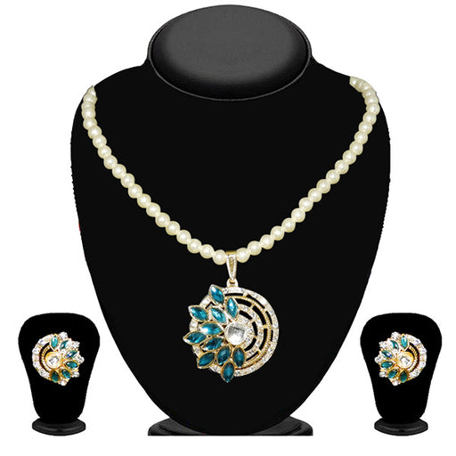 Kriaa Blue Kundan Stone Gold Plated Pearl Necklace Set - 2105413 - ES