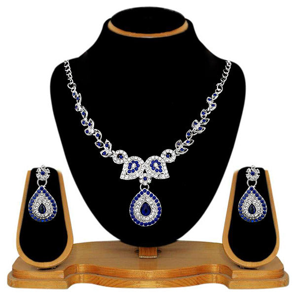 Kriaa Blue Austrian Stone Silver Plated Necklace Set - 2105414 - ES