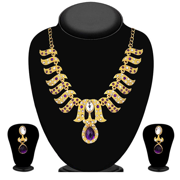 Kriaa Purple Austrian Stone Gold Plated Necklace Set - 2105415 - ES