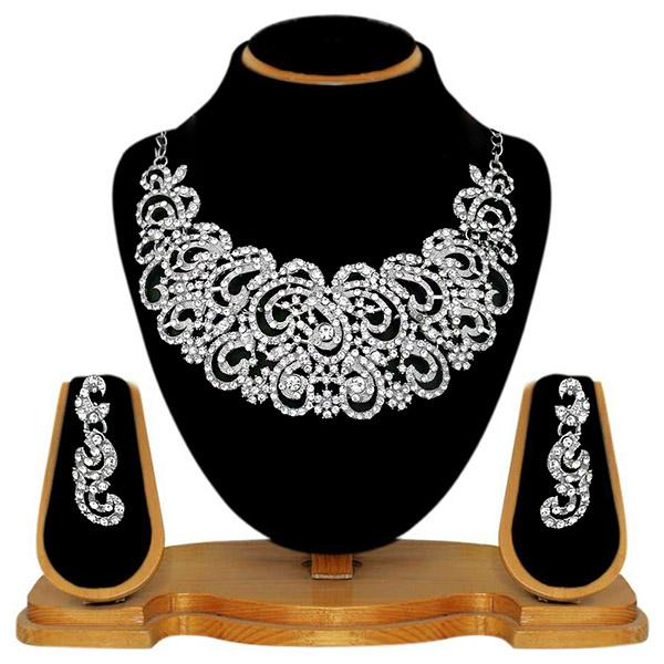 Kriaa Silver Plated White Austrian Stone Necklace Set - 2105416 - WN