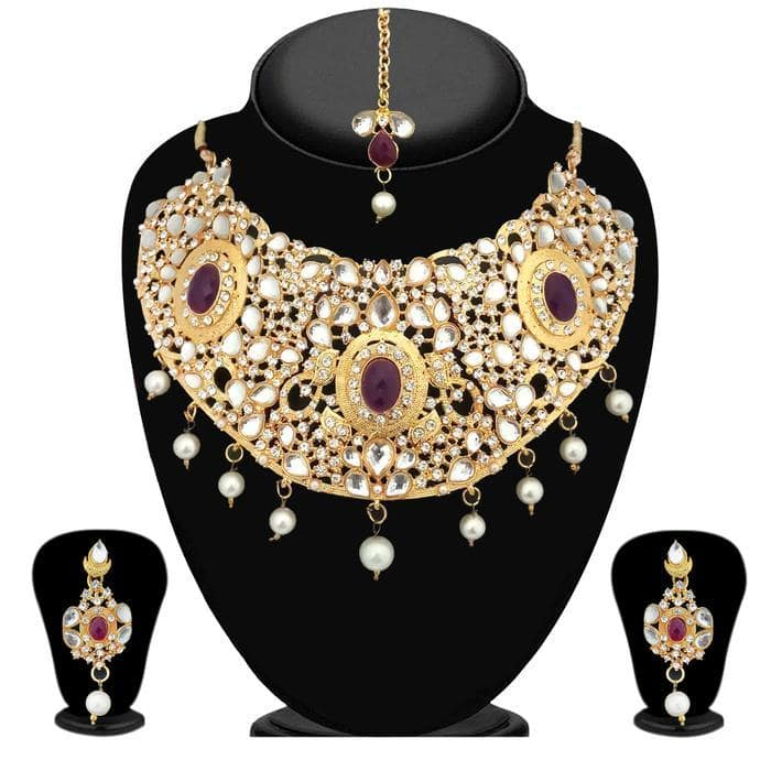 Kriaa White Kundan Stone Gold Plated Necklace Set-2105417-WN