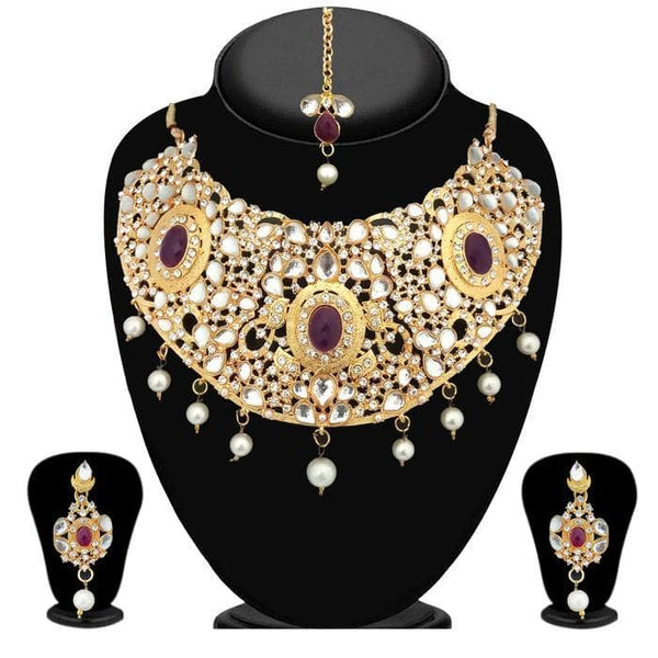 Kriaa White Kundan Stone Gold Plated Necklace Set