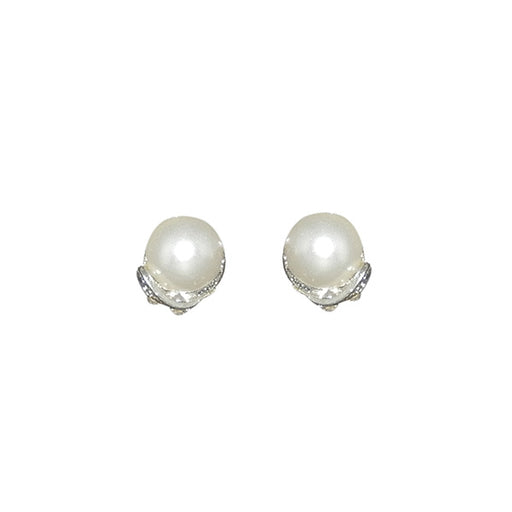 Kriaa Silver Plated White Pearl Stud Earrings