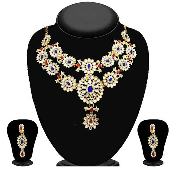 Kriaa Kundan Gold Plated Stone Layer Necklace Set - 2105601 - ES