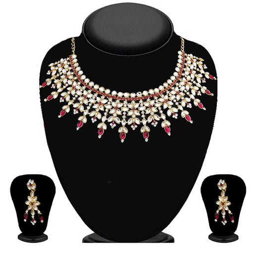 Kriaa Pink Kundan Gold Plated Stone Necklace Set