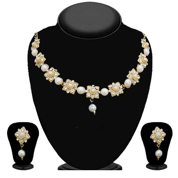 Kriaa Austrian Stone Gold Plated Pearl Necklace Set