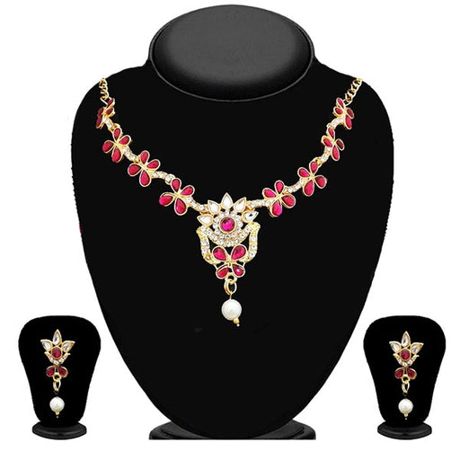 Kriaa Pink Stone Gold Plated Necklace Set