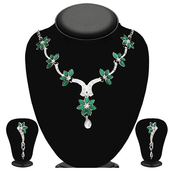 Kriaa Green Kundan Stone Silver Plated Necklace Set