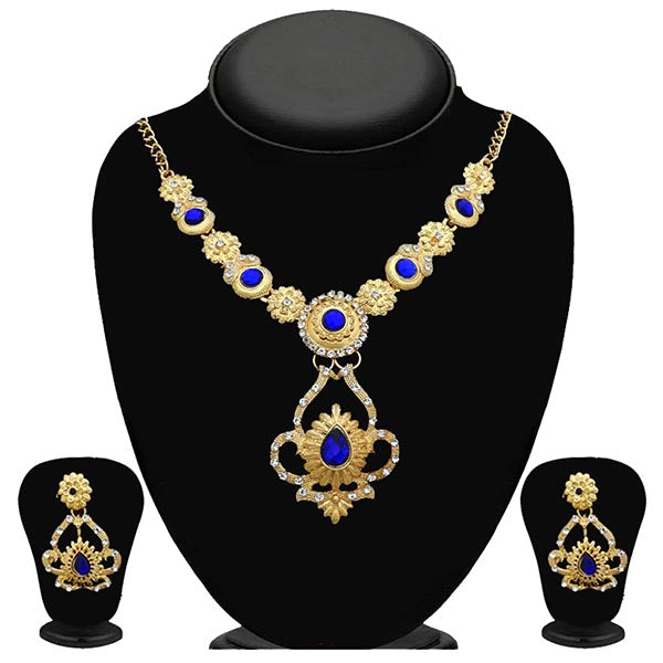 Kriaa Gold Plated Blue Stone Necklace Set