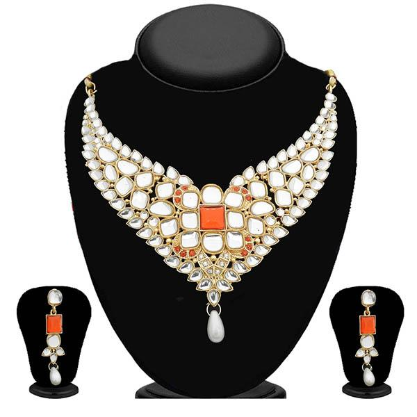 Kriaa Kundan Gold Plated Stone Necklace Set-WN