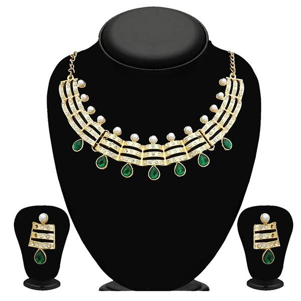 Kriaa Stone Green Kundan Gold Plated Necklace Set - 2105614 - ES