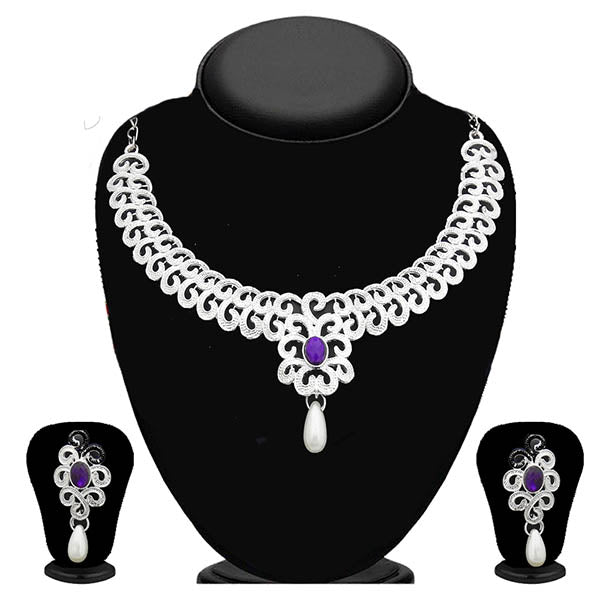Kriaa Silver Plated Purple Stone Necklace Set