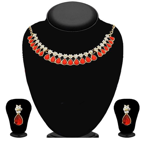 Kriaa Gold Plated Orange Stone Necklace Set - 2105617 - ES