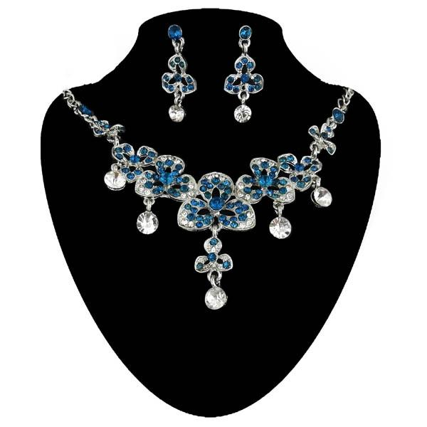 Kriaa Blue Austrian Stone Silver Plated Necklace Set - NB