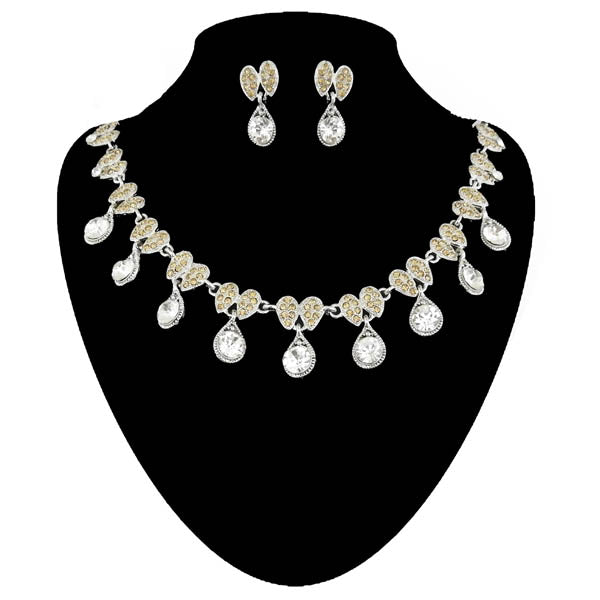 Kriaa Austrain Stone Silver Plated Necklace Set