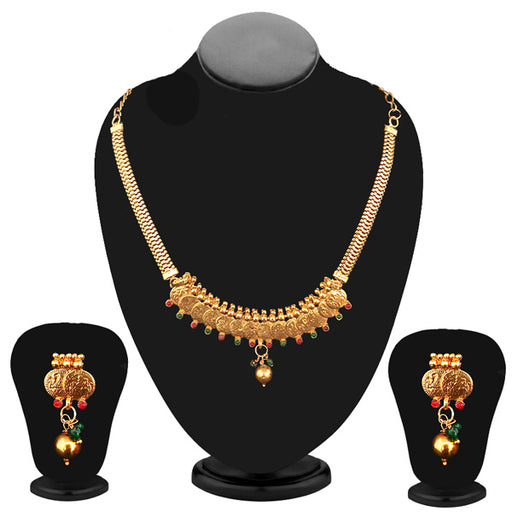 Kriaa Gold Plated Maroon Stone Coin Necklace Set