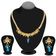 Kriaa Gold Plated Blue Austrian Stone Necklace Set - 2105802  - NB