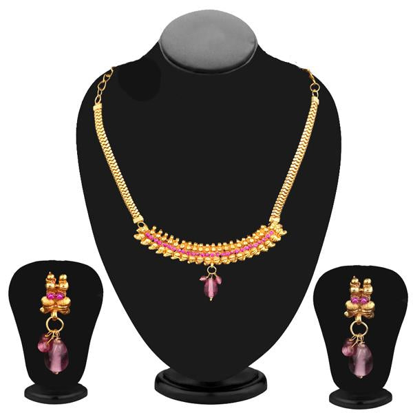 Kriaa Gold Plated Pink Austrian Stone Necklace Set