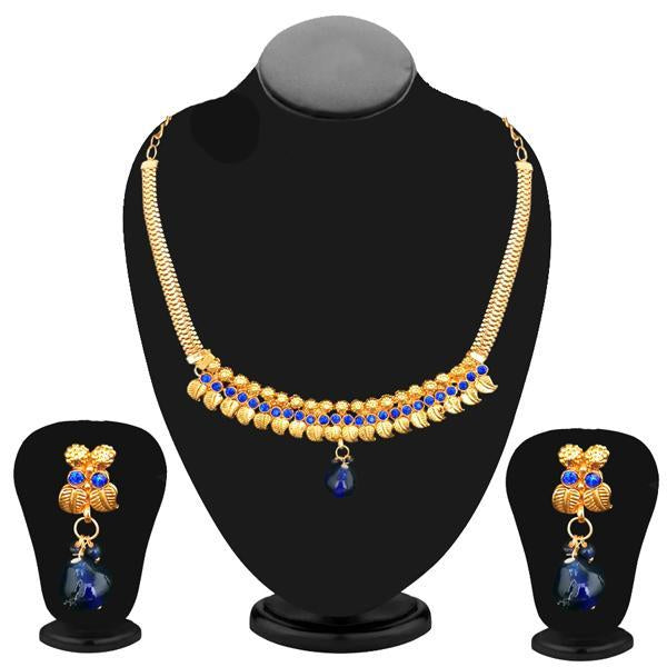 Kriaa Gold Plated Blue Austrian Stone Necklace Set - 2105805 - NB