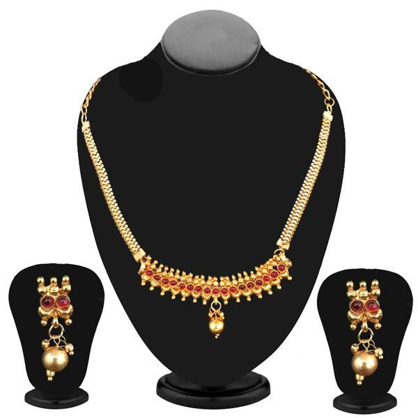 Kriaa Gold Plated Maroon Pota Stone Necklace Set - 2105806  - NB