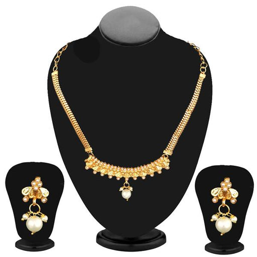 Kriaa Gold Plated White Pearl Necklace Set - 2105807 - ES