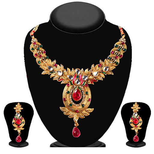 Soha Fashion Green Meenakari Stone Drop Necklace Set