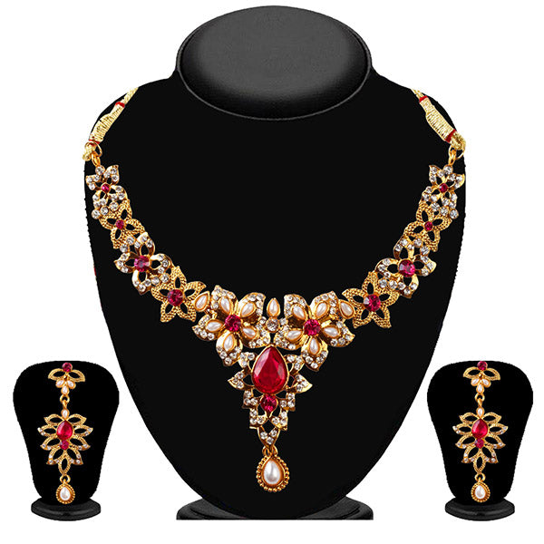 Soha Fashion Red And White Stone Drop Necklace Set