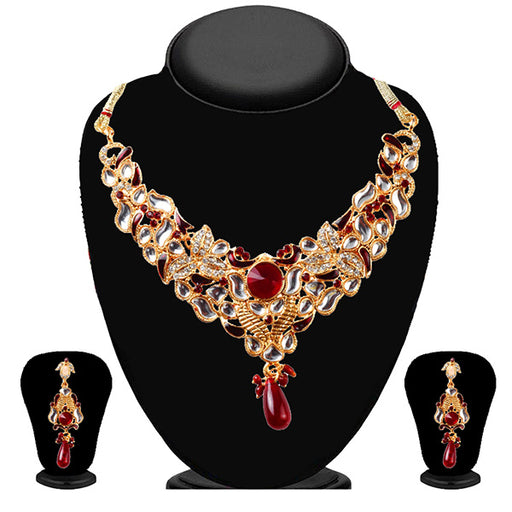 Soha Fashion Maroon Meenakari Kundan Drop Necklace Set