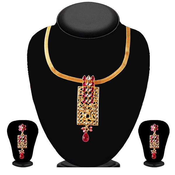 Soha Fashion Gold Plated Pink Kundan Pendant Set