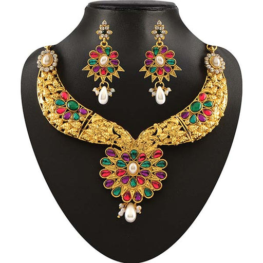Soha Fashion Multicolour Kundan Drop Necklace Set