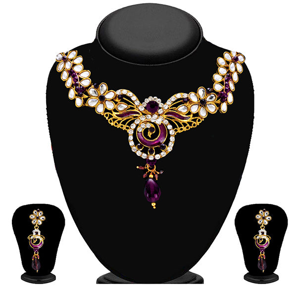 Soha Fashion Gold Plated Purple Austrian Stone Necklace Set