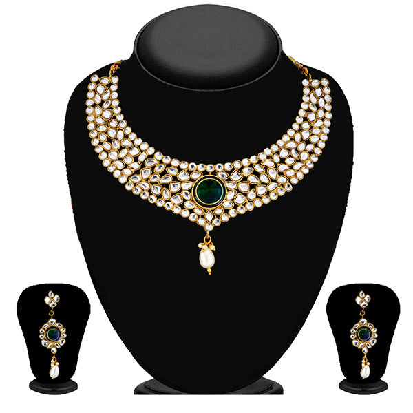 Soha Fashion Green And White Kundan Drop Necklace Set