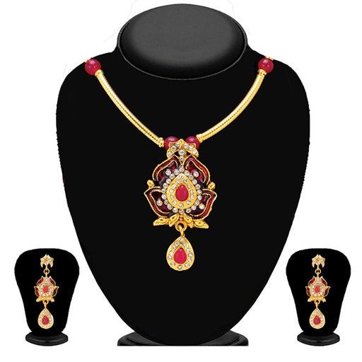 Soha Fashion Red Meenakari Drop Necklace Set