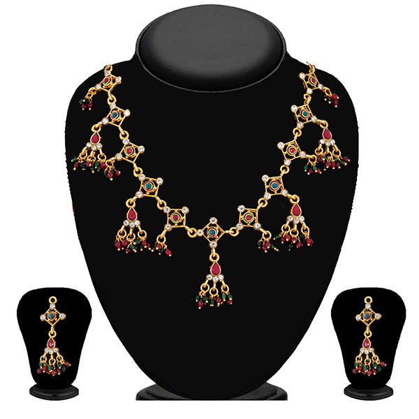 Soha Fashion Maroon Pota Stone Gold Plated Necklace Set