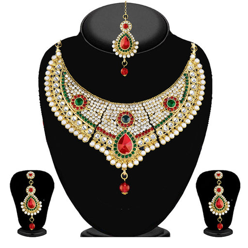 Soha Fashion Multi Stone Necklace Set With Maang tikka